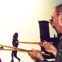 Tacettin Diker, Turkish karagöz shadow theatre master. Photo courtesy of UNIMA Turkey (UNIMA Turkiye)
