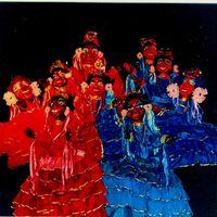 Una escena en <em>Festança no Reino da Mata Verde</em> (1977) por Mamulengo Só-Riso representando dos coros de pastoras (Olinda, Estado de Pernambuco, Brasil). Foto: Fernando Augusto Gonçalves