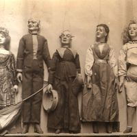 A selection of string puppets from the D'Arc's Marionettes troupe, c.1860. Photo courtesy of Collection: The National Puppetry Archive