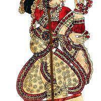 Draupadi, wife of the Pandava prin<em>c</em>es in the <em>Mahabharata</em>, leather shadow puppet by <em>togalu gombeyata</em> master puppeteer, Gunduraju (Hassan, Karnataka, India). Photo courtesy of Atul Sinha