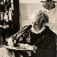Edward Gordon Craig en 1950, âgé de 78 ans. Photo réproduite avec l'aimable autorisation de The National Puppetry Archive
