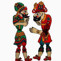 Karagöz et Hacivat, les personnages principaux du théâtre d'ombres turc, karagöz. Photo réproduite avec l'aimable autorisation de UNIMA Turquie (UNIMA Turkiye)