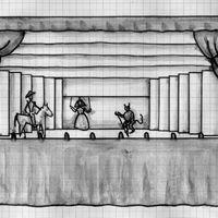 Reconstrucción, por Francisco J. Cornejo, de la máquina real según diversa documentación existente y a partir de las medidas del escenario construido en 1772 en el Corral del Príncipe, de Madrid (España), para la máquina real de Cristóbal Franco: 24 x 10 pies (aprox. 6,70 x 2,80 m). Frente