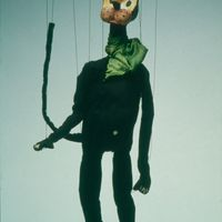 Krazy Kat (c.1930), string puppet by American puppeteer and puppet theatre historian Paul McPharlin (1904-1948)