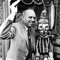 Percy Press II, Punch Professor. Photo courtesy of Collection: The National Puppetry Archive