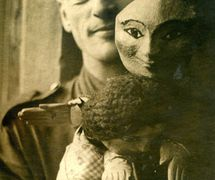 Panto (A.R. Philpott) with two of his puppets. Photo courtesy of Collection: The National Puppetry Archive