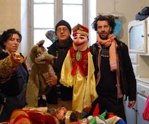 Puppeteers with rod puppets from the puppet theatre group, Coopérative Masrah Arous Wahran (<em>Or</em>an [Arabi<em>c</em>: <em>Wahrān</em>], Algeria). Photo: Houari Abdelkhalek