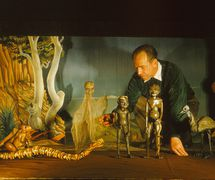 W.D. Ni<em>c</em>ol (1907-1978), Australian tea<em>c</em>her and amateur puppeteer who helped found a puppetry guild in Melbourne in 1942, with his string puppets from Yalurit & the Rainbow Snake (<em>c</em>.1954). Photo courtesy of Margaret Wallace