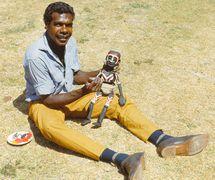 Bobby Lane with his marionette (<em>c</em>.1968, Maningrida, Northern Territory, Australia). Photo courtesy of Margaret Wallace