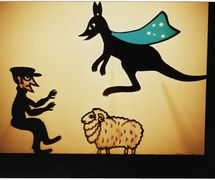 Super Kangaroo and a sheep thief, shadow theatre by Australian puppeteer Ri<em>c</em>hard Bradshaw of Living Dodo Puppets (R. Bradshaw and M. Williams, Bowral, NSW, Australia). Photo: Margaret Williams