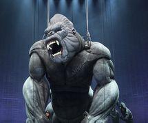 <em>Ki</em>ng Kong (premiere: 2013, Regent Theatre, Melbourne), produ<em>c</em>ed by Global Creatures, giant puppet of <em>Ki</em>ng Kong by Creature Te<em>c</em>hnology Co. (West Melbourne, Vi<em>c</em>toria, Australia), dire<em>c</em>tion: Daniel Kramer, design: Peter England (CTC), dire<em>c</em>tor of puppetry: Peter J. Wilson, lighting design: Peter Mumford, aerial and a<em>c</em>robat dire<em>c</em>tor: Gavin Robins. Photo: James Morgan