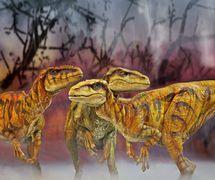 <em>Utahraptors</em> by Creature Te<em>c</em>hnology Co. (West Melbourne, Vi<em>c</em>toria, Australia), in Walking with Dinosaurs – The Arena Spe<em>c</em>ta<em>c</em>ular, <em>c</em>reative dire<em>c</em>tor: Sonny Tilders. Photo: David Scheinmann
