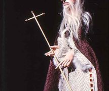 Priest, in <em>Doctor Faustus</em> (1975) by Barry Smith. Rod puppet. Photo courtesy of Collection: The National Puppetry Archive
