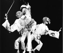 <em>Pierrot in Five Masks</em> (c.1984) by Barry Smith. Bunraku technique, height: 1.5 metres. Photo courtesy of Collection: The National Puppetry Archive