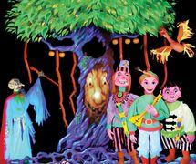 The <em><em>Fire</em>bird</em> (2012) par les Purves Puppets, Biggar Puppet Theatre (Lanarkshire du sud, Écosse). Théâtre noir utilisant des marionnettes à tringles, des marionnettes à gaine et des marionnettes à fils