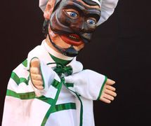 Brighella, un <em>burattino</em> (marionnette à gaine) dans la tradition de Bergamo par le marionnettiste Pietro Roncelli (Brembate di Sopra, Bergamo, Italie). Photo réproduite avec l'aimable autorisation de Bruno Ghislandi