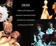 Collage de photos d'étudiants pendant la formation au Diplôme d'études supérieures spécialisées en Théâtre de Marionnettes Contemporain (fondé et dirigé par Marthe Adam) de l'UQAM – Université du Québec à Montréal