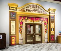 Entrance to Worlds of Puppetry Museum with galleries dedicated to American puppeteer Jim Henson, his legacy and global puppetry collection. Photo courtesy of Center for Puppetry Arts