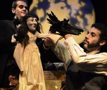 <em>Tales of Edgar Allan Poe</em> (2002) by Center for Puppetry Arts (Atlanta, GA, United States), adaptation: Bobby Box and Jon Ludwig, direction: Bobby Box, composer: Klimchak, puppet design: Chris Brown, Scott Spencer and Jason Hines, scenic design: F. Elaine Williams, costume design: Jamie Bullins, lighting design: Liz Lee, projection design: Jason Hines, sound design: Brian Kettler and Gregory Montague. Performers featured in photo: Luis Hernandez and Rudy Roushdi. Photo from 2013 production. Photo courtesy of Center for Puppetry Arts