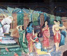 Une toile de fond peinte pour un spe<em>c</em>ta<em>c</em>le de danger putul na<em>c</em>h, les marionnettes à tiges traditionnelle du Bengale o<em>c</em><em>c</em>idental, en Inde. Photo réproduite avec l'aimable autorisation de Sampa Ghosh