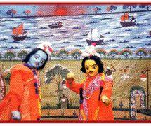 Râma et Laxman, du Râmâyana. Danger putul na<em>c</em>h, les marionnettes à tiges traditionnelles du Bengale o<em>c</em><em>c</em>idental, en Inde. Photo réproduite avec l'aimable autorisation de Sampa Ghosh