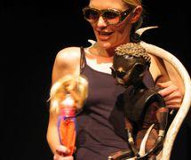 <em>Diagnosis</em> (2004) by Rasa Group (Helsinki, Finland), direction: Titta Halinen, design: Satu Paavola, puppet characters: Ainu, Toivo, Folke, performer: Satu Paavola. Photo: Jukka Ruotsalainen