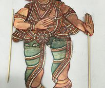 Small shadow puppet of Ganesh in the style of <em>tolu bommalata</em>, traditional shadow theatre of Andhra Pradesh, India. Photo: Karen Smith