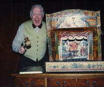 George Speaight with puppets and toy theatre. Photo courtesy of Anthony Speaight