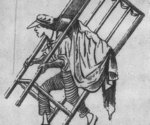 Italian puppeteer Ghetanaccio (Gaetano Santangelo, 1772-1832) with his <em>casotto</em> (portable puppet booth), a reproduction of an engraving from the period. Collezione Maria Signorelli