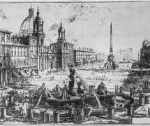Etching by Giovanni Battista Piranesi (1720-1778) of Piazza Navona, close to Piazza di Pasquino, the site where Ghetanaccio used to set up his <em>casotto</em> (portable booth). Collezione Maria Signorelli