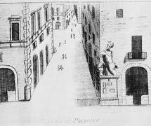 An engraving (c. early 19th century) of Piazza di Pasquino in Roma, the site where Ghetanaccio used to set up his <em>casotto</em> (portable booth). Collezione Maria Signorelli