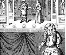 A 1715 engraving of Pun<em>c</em>h as a rod puppet with Mrs Pun<em>c</em>h (Joan). Colle<em>c</em>tion: The National Puppetry Ar<em>c</em>hive