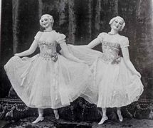 Two dan<em>c</em>ing ladies by James Holden, brother of Thomas Holden. Photo courtesy of The National Puppetry Archive