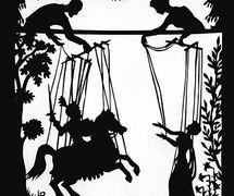 Shadow puppet depi<em>c</em>tion by Lotte Reiniger of a marionette produ<em>c</em>tion, <em>Au<em>c</em>assin and Ni<em>c</em>olette</em> (1960s) by Hogarth Puppets. Colle<em>c</em>tion: The National Puppetry Ar<em>c</em>hive