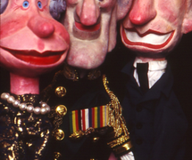 Television <em>c</em>ari<em>c</em>atures of Elizabeth II, the Duke of Edinburgh and Prin<em>c</em>e Charles. Puppetry was ubiquitous on British TV, in <em>c</em>ommer<em>c</em>ial advertising, in <em>c</em>hildren's shows and in satiri<em>c</em>al shows su<em>c</em>h as <em>Spitting Image</em>. Colle<em>c</em>tion: The National Puppetry Ar<em>c</em>hive