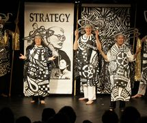 <em>Three Graces</em> (created for the 2011 Banners and Cranks Festival) by Great Small Works (New York City, USA), a performance with large cantastoria banners and oversized costumes.Actors/puppeteers featured in the photo: Maura Gahan, Xavier, Trudi Cohen, John Bell, Stephen Kaplin, Cassandra Burrows. Photo: Meg Dolan