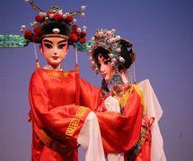<em>The Princess</em> (帝女花, 1997) by Guangdongsheng Muou Jutuan (Haizhuqu, Guangzhou, Guangdong Province, People's Republic of China), direction: Li Yuchao, design/construction: He Weichao, puppeteers: Ye Xiaohui, Li Huanhuan. Rod puppets, height: 70-100 cm. Photo courtesy of Guangdongsheng Muou Jutuan