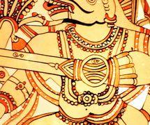 <em>Hanuman</em>, un personnage important du Râmâyana, réalisée dans le style du <em>togalu gombeyata</em>, le théâtre d'ombres traditionnelle du Tamil Nadu, en Inde. Photo réproduite avec l'aimable autorisation de Atul Sinha
