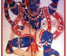 <em>Hanuman</em>, un personnage important du Râmâyana, réalisée dans le style du <em>togalu gombeyata</em>, le théâtre d'ombres traditionnelle du Tamil Nadu, en Inde. Photo réproduite avec l'aimable autorisation de Sampa Ghosh
