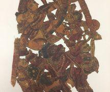 Râma, <em>Hanuman</em> et l'armée du singe en guerre <em>c</em>ontre Râvana, du Râmâyana, réalisée dans le style de <em>togalu gombeyata</em>, le théâtre d'ombres traditionnel de Karnataka, en Inde, hauteur : 60 <em>c</em>m. Colle<em>c</em>tion : Center for Puppetry Arts (Georgia, Atlanta, États-Unis), donnée par Melvyn Helstien (1991)