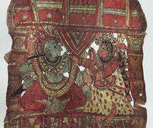 Rama y Sita, una figura de sombra <em>c</em>ompuesta, <em>togalu gombeyata</em>, de Karnataka, India, altura: 68 <em>c</em>m. Cole<em>c</em><em>c</em>ión: Center for Puppetry Arts (Atlanta, Georgia, Estados Unidos), donado por Melvyn Helstien (1991). Fotografía cortesía de Center for Puppetry Arts