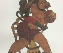 <em>Hanuman</em>, del Râmâyana, realizado en el estilo de <em>togalu gombeyata</em>, el teatro de sombras tradi<em>c</em>ional de Karnataka, India, altura: 60 <em>c</em>m. Cole<em>c</em><em>c</em>ión: Center for Puppetry Arts (Georgia, Atlanta, Estados Unidos), donado por Melvyn Helstien (1991)