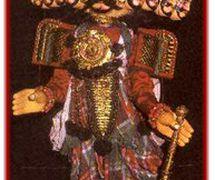 Rávana, el rey demonio de Lanka en el <em>Râmâyana. Yakshagana gombeyata,</em> los títeres de hilos de Karnataka, India. Fotografía cortesía de Sampa Ghosh