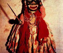 Un rakshasa (demonio), un títere realizado en el estilo de <em>kalasutri bahulya</em>, títeres de hilos tradi<em>c</em>ionales de <em>Maharashtra</em>, India. Fotografía cortesía de Sampa Ghosh