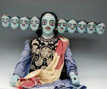 Rávana, del Râmâyana, un títere de varillas, danger putul na<em>c</em>h, de Bengala O<em>c</em><em>c</em>idental, India, altura: 1,02 m, an<em>c</em>hura: 51 <em>c</em>m. Cole<em>c</em><em>c</em>ión: Center for Puppetry Arts (Georgia, Atlanta, Estados Unidos). Fotografía cortesía de Center for Puppetry Arts