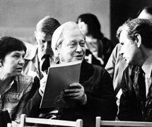 Irina Jarovtseva, Sergueï Obraztsov et Henryk Jurkowski au 12e Congrès UNIMA à Moscou (1976). Photo réproduite avec l'aimable autorisation de Archive : Rossiyskiy tsentr UNIMA (Centre UNIMA Russie, Moscou, Russie)