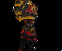 Hacivat, une marionnette d'ombre karagöz de Vural Arisoy. Photo réproduite avec l'aimable autorisation de UNIMA Turquie (UNIMA Turkiye)