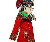 Zenne, un personnage féminin du théâtre d'ombres turc, karagöz. Photo réproduite avec l'aimable autorisation de UNIMA Turkey (UNIMA Turkiye)