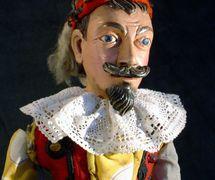 Kašpárek (but not a typical Kašpárek, originally the character of a nobleman recostumed by a puppeteer). String puppet made of wood and fabric, end of 19th century, height: 45 cm, design: Jan Flachs. Collection: Moravské zemské muzeum (Brno, Czech Republic). Photo: Jaroslav Blecha