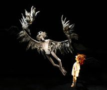 The Very Old Man and the Boy, in <em>A Very Old Man with Enormous Wings</em> (2011) by Little Angel Theatre (London, UK), direction: Mike Shepherd, design/construction: Lyndie Wright. Tabletop puppetry. Photo: Ellie Kurttz